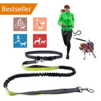 Hands Free Pet Dog Lead Waist Belt Band Reflective Stitching Adjustable Leash AU