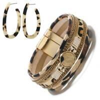 Leather Leopard Print Bracelet Earring & Magnetic Cuff Button Wrap Jewellery