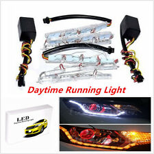 2x Switchback Car SUV LED Strip Lights Sequential Signal For Headlight Retrofit