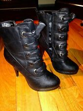 Black Leather Booties Size High Heel Boots 8.5