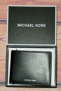 MENS MICHAEL KORS WARREN BLACK BIFOLD LEATHER WALLET WITH ORIGINAL GIFT BOX