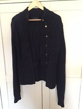 Ted Baker Navy Chunky Cotton Cable Knit Cardigan Size 2 (10)