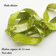 Ruban / Galon séquin paillette de 25 mm, vendu au mètre : Vert clair
