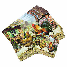 Set of 4 Placemats & Coasters Table Settings Mats Country Farm Cockerel Chickens