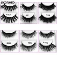 SKONHED New 5 Pairs 3D Mink Hair False Eyelashes Wispy Cross Long Lashes Makeup