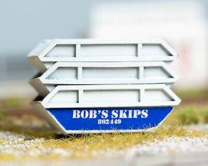 OO Gauge 1:76 Scale Stackable Waste Skips (8yd) x3 - 'Bob's Skips'