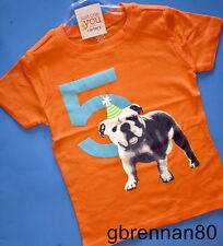 ~NEW~ 5th Birthday DOG Baby Boys Shirt 5T Orange 5 Years Gift! SS Carters Party