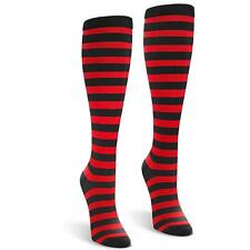 Red Black Striped Cotton Knee High Long Socks Crazy Derby One Size  SHIPS TODAY*