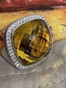 DAVID YURMAN SS ALBION 20mm LEMON CITRINE & DIAMOND RING. SIZE 6.5