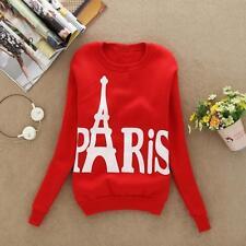 Women Long Sleeve Paris Eiffel Tower Printed Pullover Blouse Sweatshirts Tops