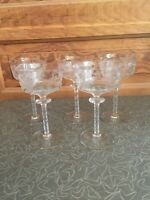 Vintage Elegant Etched Glass Leaf 4 Ounce Wine Goblet Thorn Stem Set Of 5
