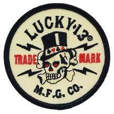 Lucky 13 Old Topper Skull Patch Rockabilly Punk Kustom Retro Iron On Biker