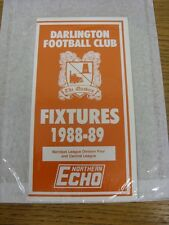 1988/1989 Darlington: Official Fixture Card (issued by Northern Echo) [Last Leag
