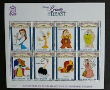 St. Vincent 1992 - Beauty and The Beast characters Mnh Sheet with Coa