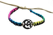 Bracelet bresilien ethnique multicolore Om hindu fil beige Ø 19mm - 25650