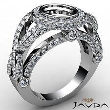 Diamond Engagement Halo Bezel Set Ring Oval Semi Mount 14k White Gold 1.42 Carat