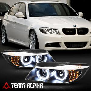 Fits 2006-2008 BMW E90 {DUAL 3D HALO/LED SIGNAL} Black Projector Headlight Lamp