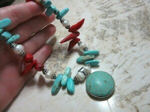 Jewelry by Titi turquoise, coral, fresh water pearl necklace