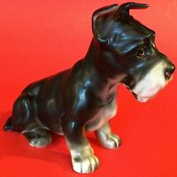 LEFTON SCHNAUZER DOG FIGURINE VINTAGE PORCELAIN BLACK AND WHITE
