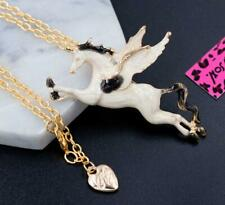 Betsey Johnson Rhinestone Enamel Pegasus Unicorn Pendant Necklace Chain Brooch