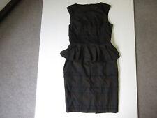 Women's CUE Sz 12 AU Peplum Dress Black Grey Near New Work| 3+ Extra 10% Off