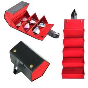 Multi Slot Portable Glasses Organizer PU Leather Folding Case 5 Slot Shades RED