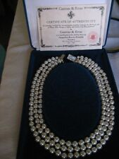 CAMROSE & KROSS JACQUELINE KENNEDY 3 STRAND PEARL NECKLACE Certificate Included