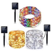 Warm White Solar Powered Copper Wire Fairy String Lights 200 LED 65Ft Christmas