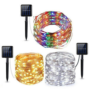 100 - 200 Led Solar Power Fairy Light String Lamp Party Xmas Deco Garden Outdoor