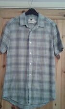 mens green/grey checked short sleeved casual shirt size S Topman