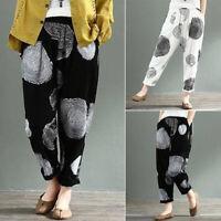 ZANZEA 8-24 Women Elastic High Waist Pull-On Pants Printed Polka Dot Trousers