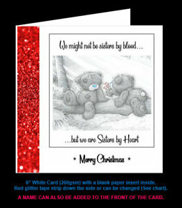 'Not Sisters by Blood, but Sisters by Heart' Friend Christmas Card, Tatty Teddy