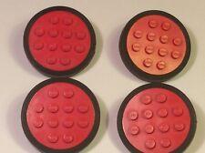 VINTAGE LEGO LEGO Treno Rosso RUOTA 12 BORCHIE (con ruote PIN) X4