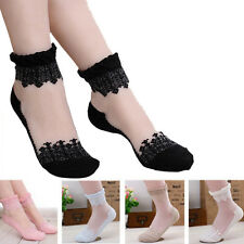 Sweet Womens Ultrathin Transparent Lace Crystal Silk Elastic Flower Short Socks