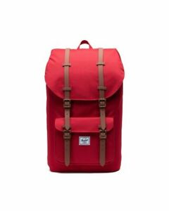 Herschel Supply Co Little America Mid-Volume Backpack- Red/Tan Synthetic Leather