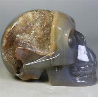 Natural Agate Geode crystal gemstone Carved Skull Cluster Skeleton Healing 296g