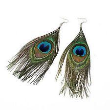 Boho Style Peacock Eye Feather Dangle Earrings