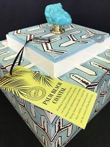 NEW Faux Turquoise Geometrical Design Box Palm Beach Coastal Chic World Traveler