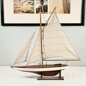 Handmade Wooden Sailboat Racing Yacht Model
