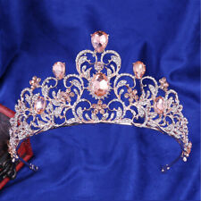 7.3cm Rose Gold High Pink Heart Crystal Tiara Crown Wedding Party Prom Pageant