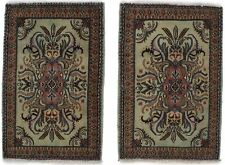 Pair Hand Knotted Floral Design 2X3 Vintage Entryway Rug Oriental Home Carpet