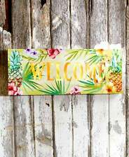 Tropical Paradise Lighted Welcome Sign Pineapple Hibiscus Floral Hawaiian Art
