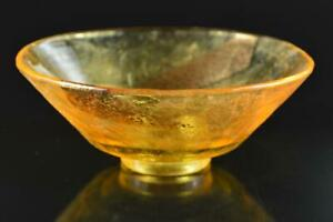 L982: Japanese Old Seto-ware Brown glaze Muffle painting TEA BOWL Green tea tool