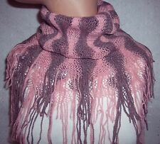 PINK & GRAY SCARF COWL INFINITY  SOFT NECK WARMER-WOMEN- YOUTH GIRL - NEW