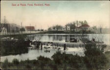 Rockland MA Dam at Reeds Pond c1910 Postcard