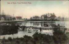 Rockland MA Dam at Reeds Pond c1910 Postcard