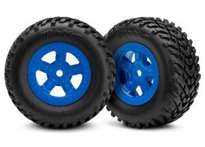 Traxxas TRA7674 SCT Tires & Blue Wheels(2) Glued: 1/18 LaTrax Desert Prerunner