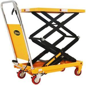 APOLLOLIFT Double Scissor Hydraulic Cart Lift Table Manual Platform Truck 330Lbs