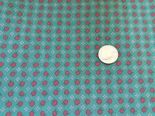 COTTON FABRIC -RED APPLES & WHITE DOTS ON GREEN ST NICOLE DESIGN BY BENARTEX BTY
