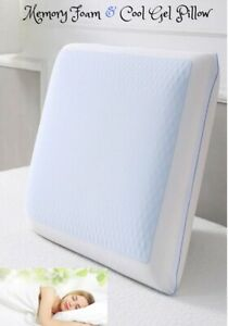 Cooling Orthopaedic Pillow Memory Foam Cervical Gel Firm Head Neck Back LARGE